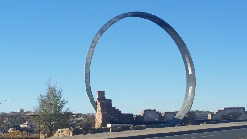 Large steel loop sculpture of Galloop, one of the unique things to do Gallup, New Mexico.
