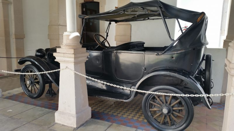The black 1922 Dodge car in which Pancho Villa was killed in with several bullet holes visible in the Museum of the Mexican Revolution in Chihuahua, Mexico.