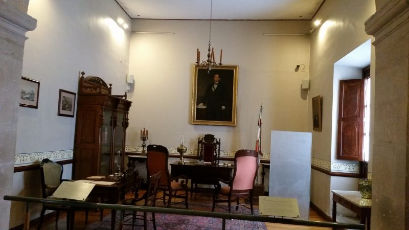 A room in Benito Juarez's house with his desk and his portrait above it in Chihuahua, Mexico.