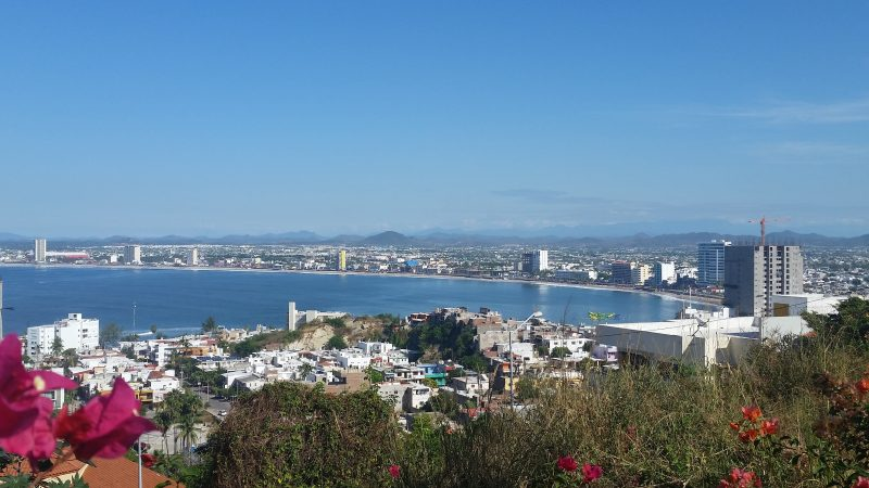 Expansive view from Cerro de la Niveria of Zona Dorada and the beaches in Mazatlan, Mexico.