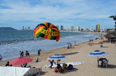 A colorful para-sail on a beach in Mazatlan.