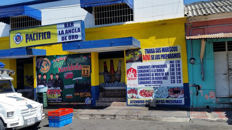 The exterior of Bar La Ancla de Oro, one of the restaurants in Mazatlan which prepares shrimp for customers who bring it in raw from the vendors outside.