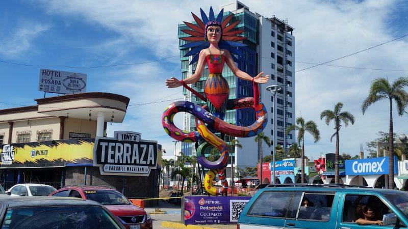 A female monigote statue along the waterfront in Mazatlan, Mexico.