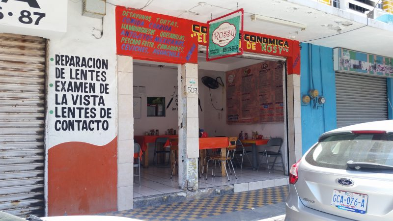 The exterior of a simple Mazatlan restaurant famous for inexpensive and tasty food.