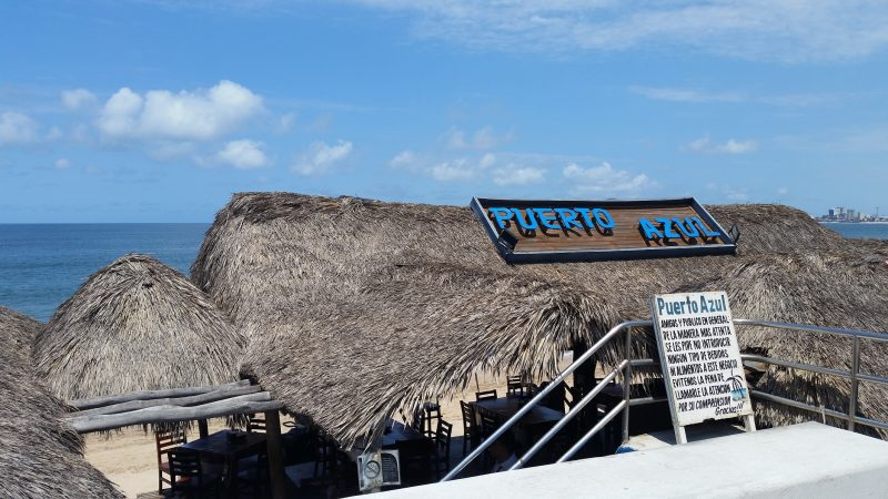 The front of Puerto Azul, one of the popular seafront palapa restaurants in Mazatlan.