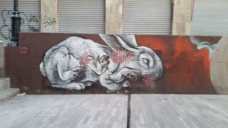 An example of colorful urban artwork of a rabbit on the streets of Mexico City.