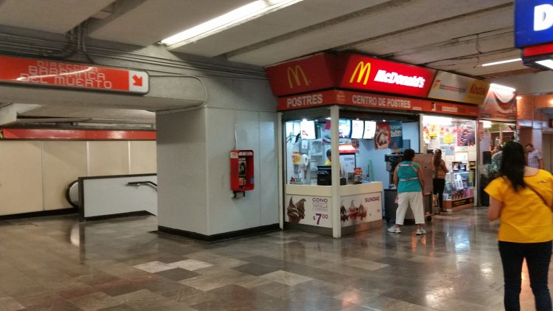 A McDonald's restaurant in the interior of a Mexico City Metro Station.