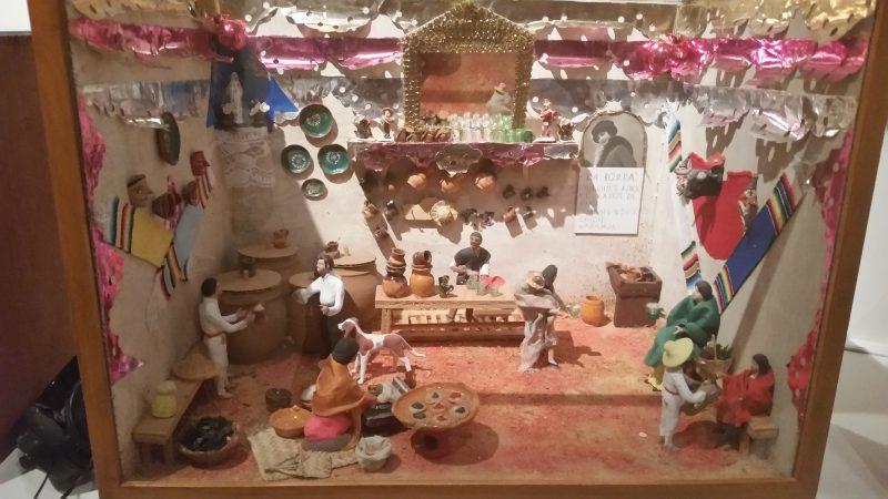 A diorama of a pulqueria in Mexico City.