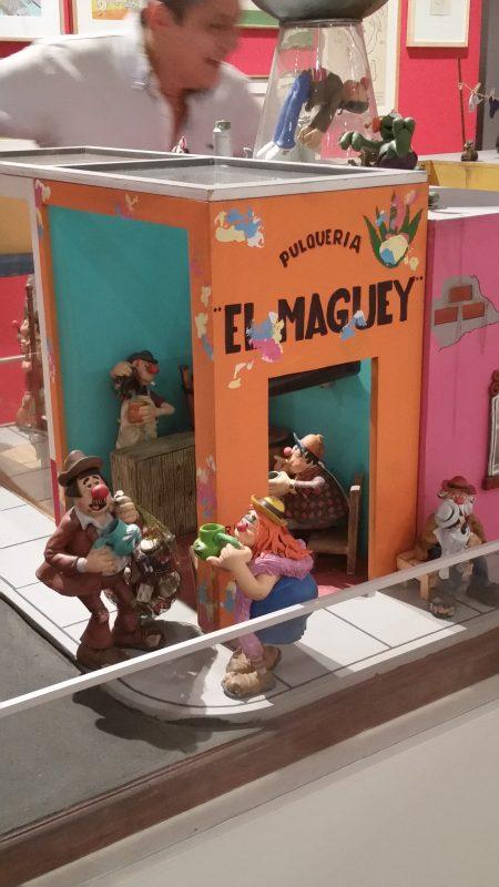 A diorama pf an old pulqueria in Mexico.