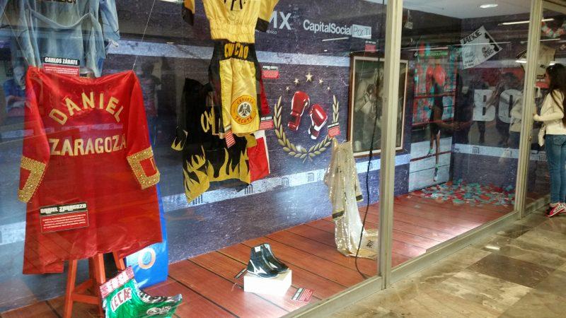 Sports Memorabilia in the interior of a Mexico City Metro Station.