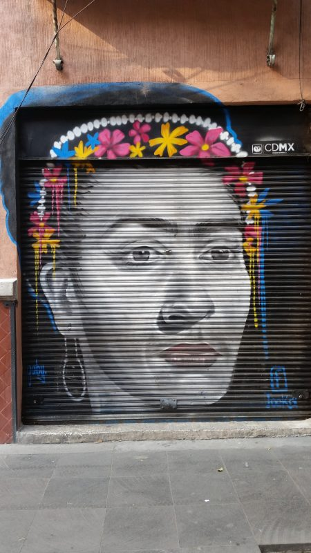 Frida Kahlo painted on the metal shutters of a shopfront in Mexico City.