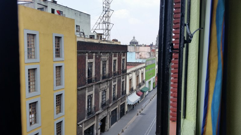 View of old building from hotel window, mexico city.