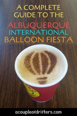 Image of a hot air balloon in cinnamon stenciled onto a latte coffee.