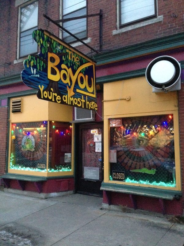 A colorful shopfront of The Bayou Kitchen.