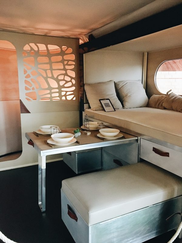Modern, minimalist custom interior of a van.