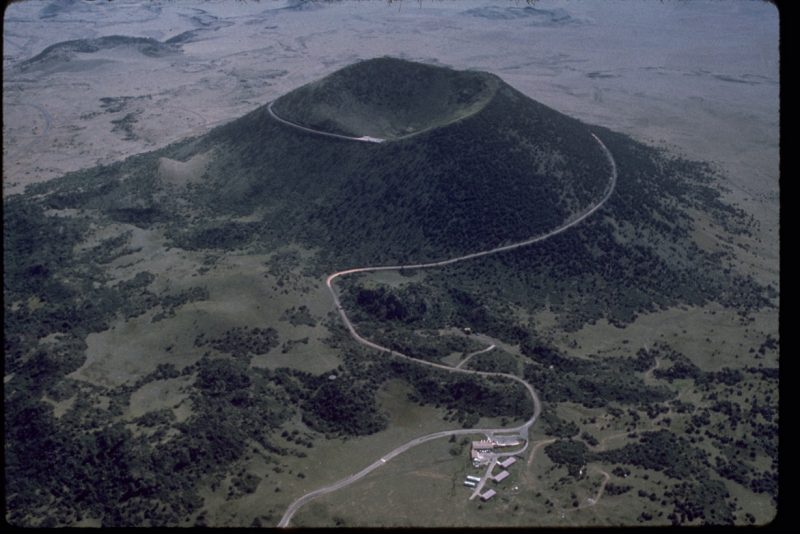 Aerial view of a road winding around Capulin Volcano in New Mexico.
