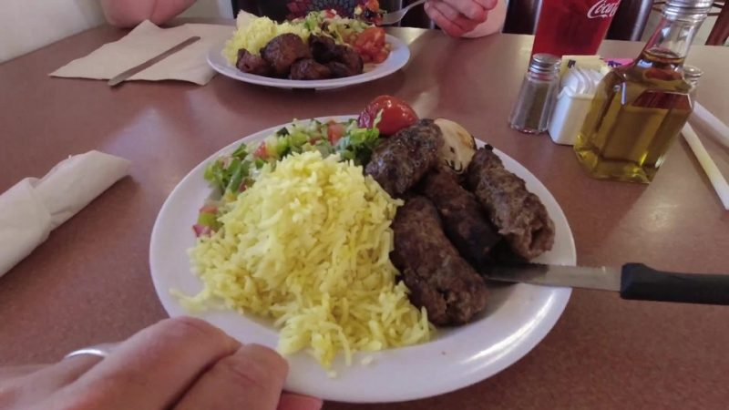 A plate of assorted Middle Eastern foods at a restaurant in Gallup, New Mexico.
