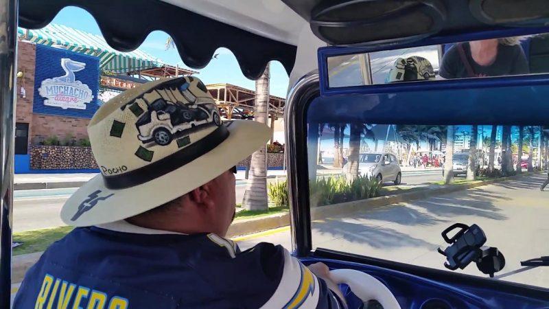 A driver giving pulmonia tours in Mazatlan.