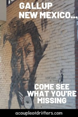 Street art portrait of Indian in Gallup, New Mexico.