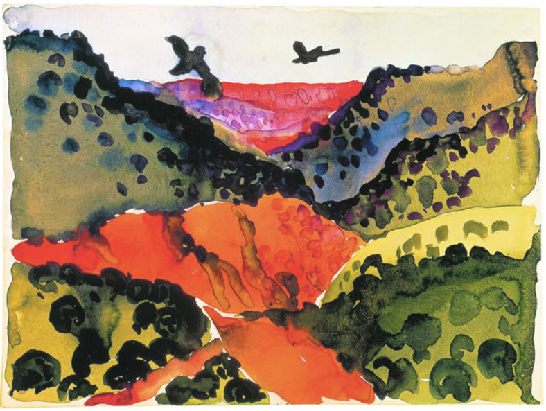 Modern stylised painting of orange canyon, with green hillsides and black crows circling overhead.