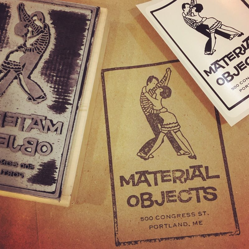Rubber stamps with the Material Objects logo on them.