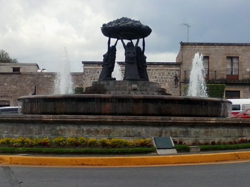 Fuente las Tarascas, a fountain with 3 topless women holding up a tray of fruit in Morelia, Mexico, a city in Mexico off the beaten path of many tourists.