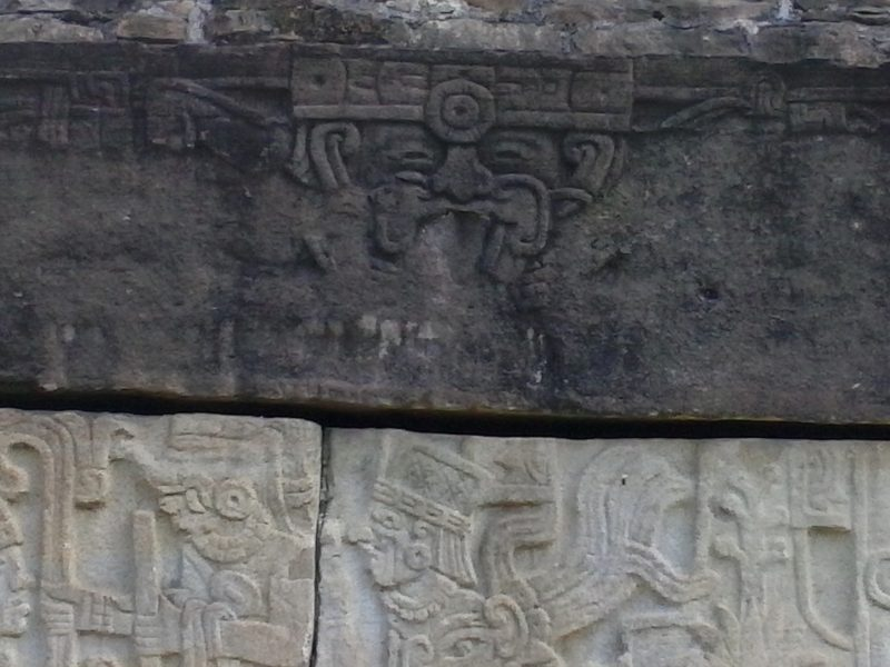 Carved stellae at el Tajin site in Mexico.