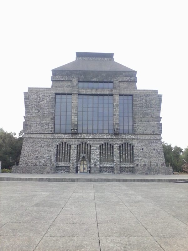 The front of the volcanic stone building of Anahuacalli in Mexico City.