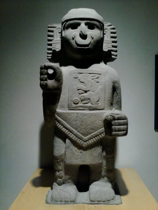 An ancient stone figure of the pulque god Two Rabbit.