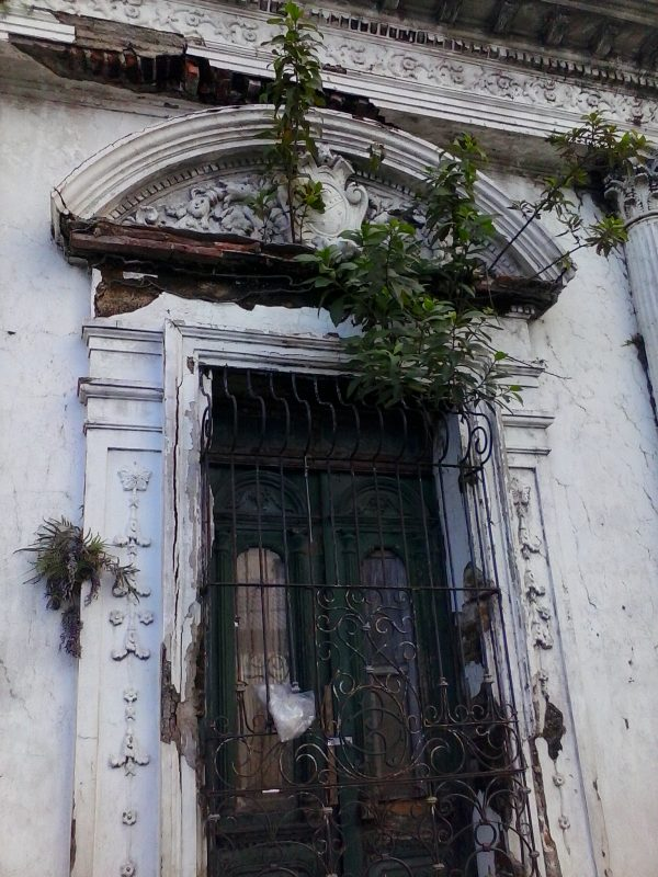 A cracked facade of a colonial building with vegetation sprouting from it in San Salvador, El Salvador.