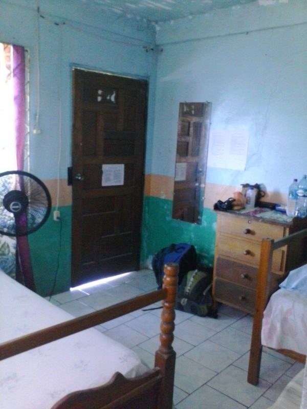 The interior of a room at the turquoise-colored Beach View Hotel on Big Corn Island off the coast of Nicaragua.