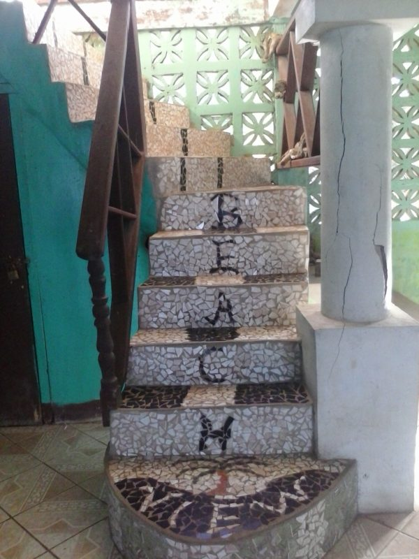 The stairs at the turquoise-colored Beach View Hotel on Big Corn Island off the coast of Nicaragua.