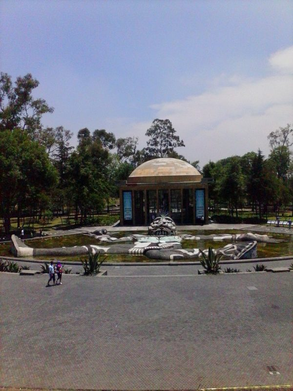A mosaic figure from Fuente de Tlaloc and Carcamo de Delores Chapultepec Park in Mexico City.