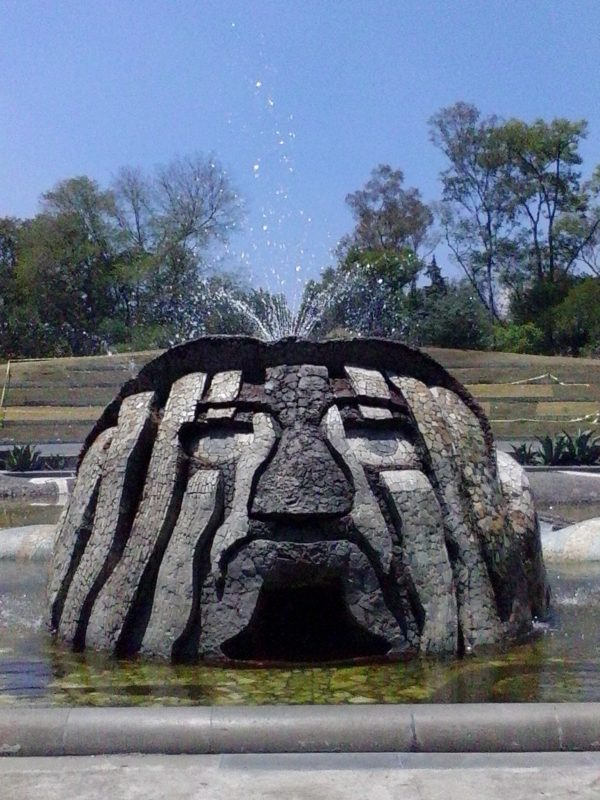 A mosaic head from Fuente de Tlaloc in Chapultepec Park in Mexico City.