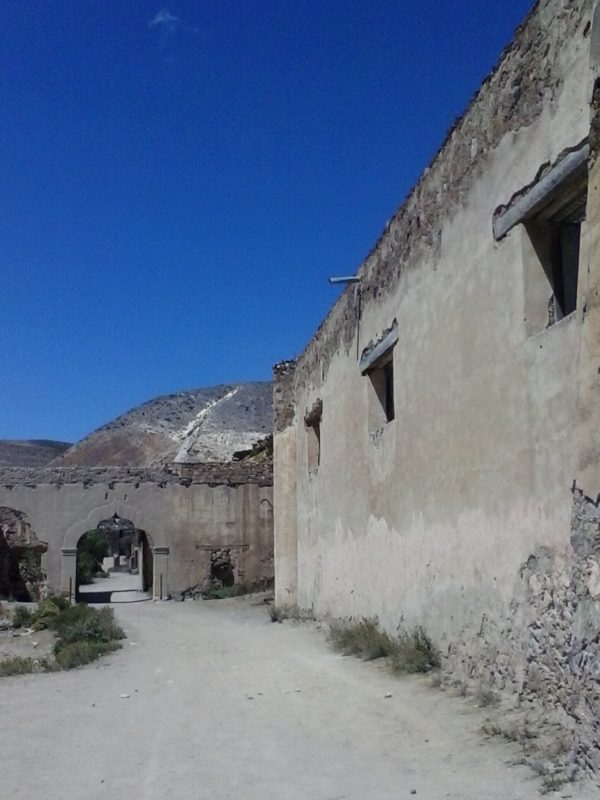 Ruined buildings in the town of Real de Catorce in the state of San Luis Potosi in Mexico.