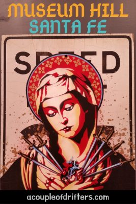 stencil of virgin mary on speed limit sign