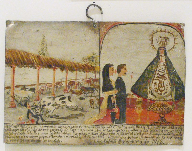 An example of an ex-voto; a man gives thanks for surviving an attack from a bull.