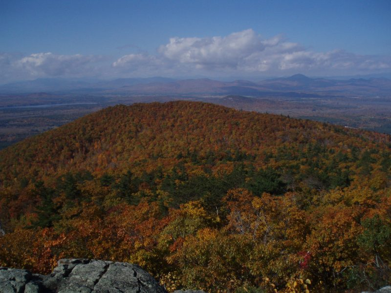 The southwestern view from atop Pleasant Mountain, a popular day trip from Portland, Maine.