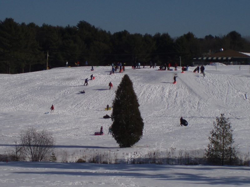 A sled hill at Riverside Golf Course.