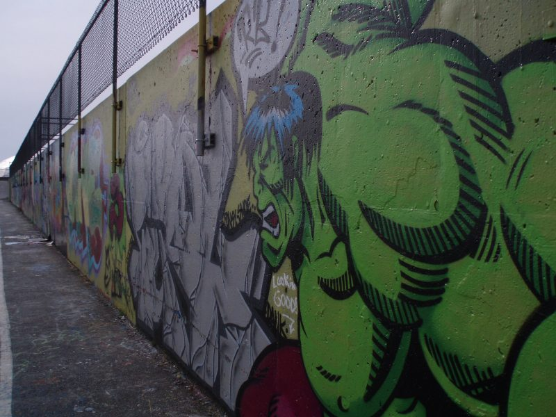 A graffiti wall featuring the Incredible Hulk in Portland, Maine.