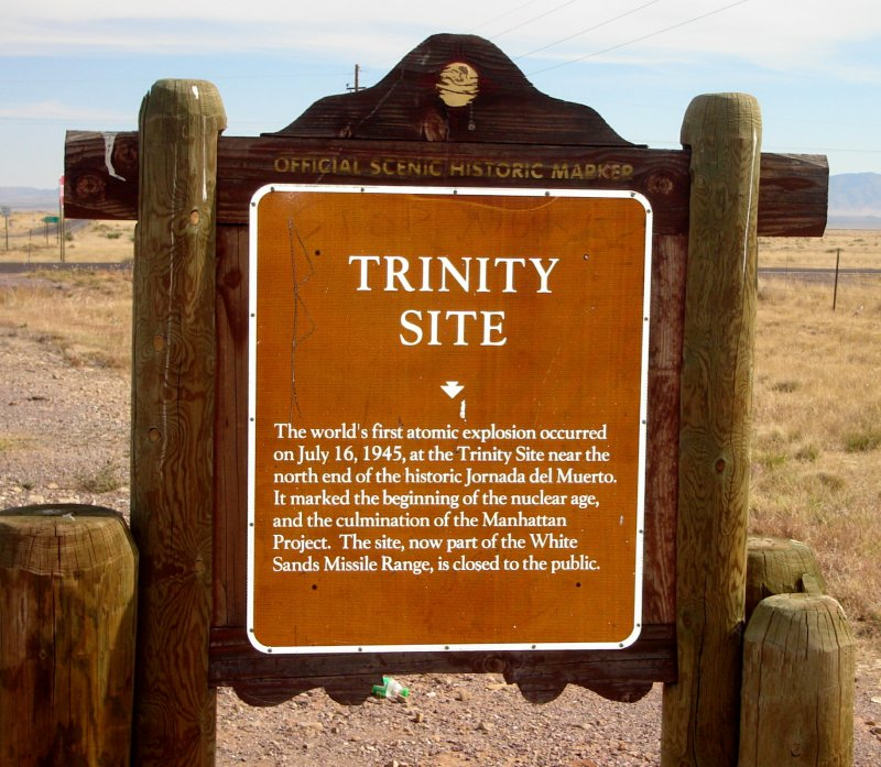 A brown historical informative sign for the Trinity Site.