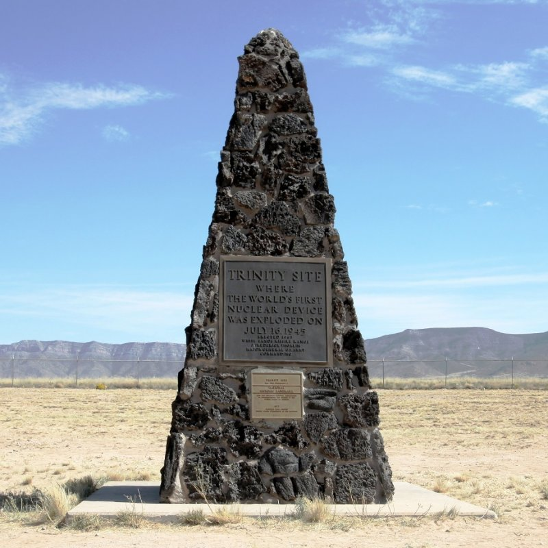 A stone obelisk at the famous Trinity Site in New Mexico.