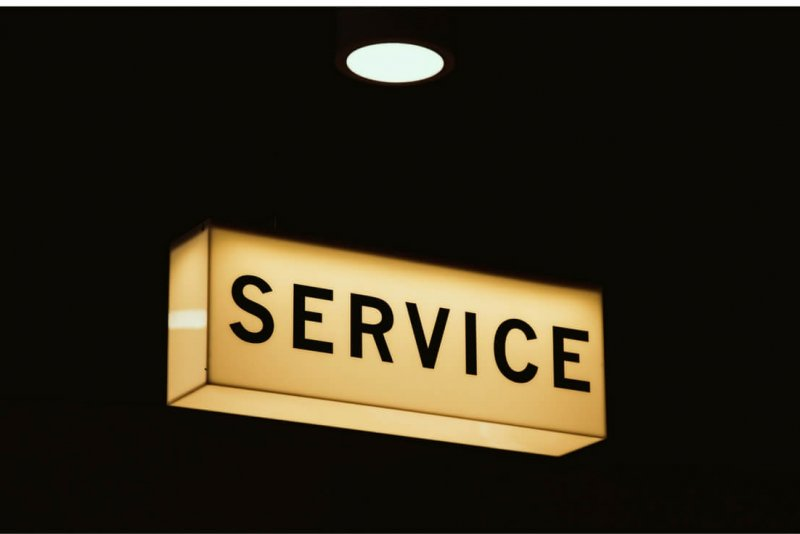 "illuminated ""service"" sign."