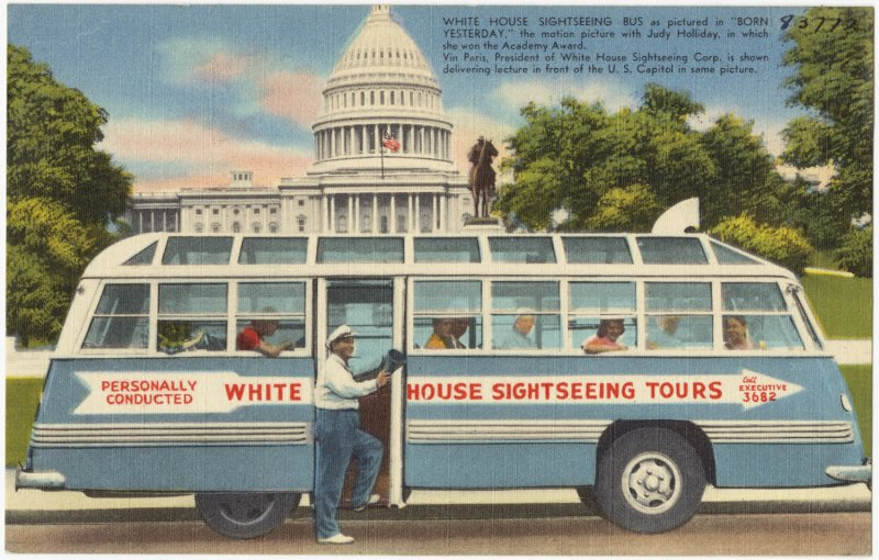 old postcard of a bus offering white house tours.