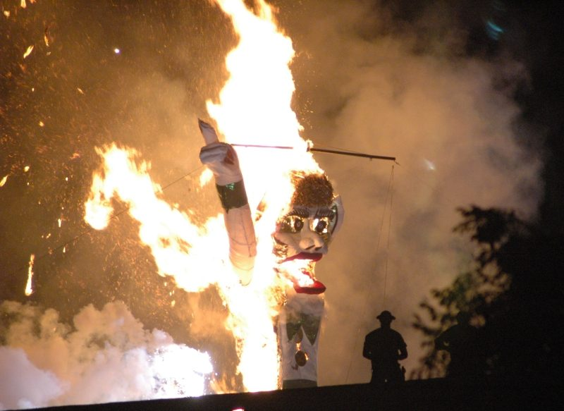 The fifty-foot tall Zozobra effigy in flames at the Fiesta de Santa Fe in New Mexico.