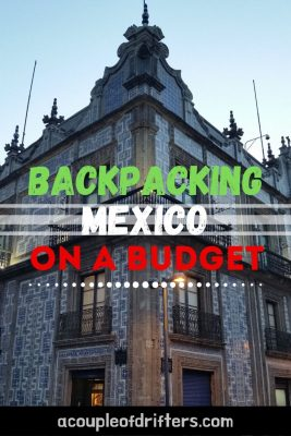 Photo of old tiled building advertising backpacking Mexico on a budget.