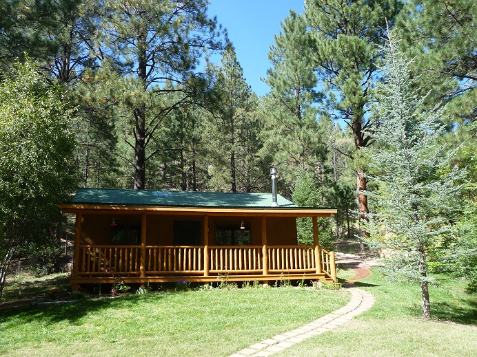 The front porch of Hummingbird Cabin on the Pecos River in New Mexico.
